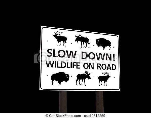 Wildlife On Road Sign - csp10812259