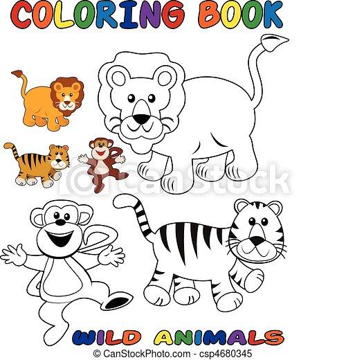 Wildtiere, färbung, -, buch. Färbung, tiere, gefärbt,... Clipart ...