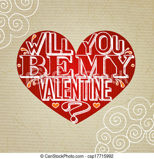 Will You Be My Valentine Lettering Vector