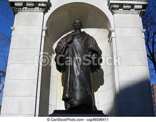 William Ellery Channing Statue; Boston Public Garden, Boston, Massachusetts, USA - csp46596411