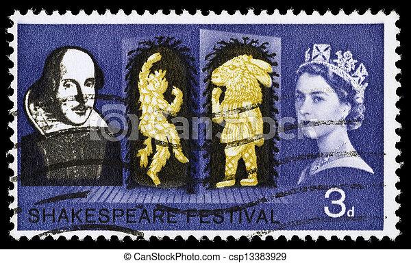 Gran Bretaña William Shakespeare sello postal - csp13383929