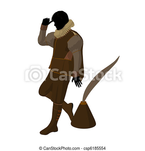 William Shakespeare Illustration Silhouette - csp6185554