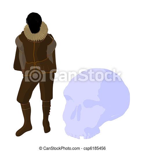 William Shakespeare Illustration Silhouette - csp6185456
