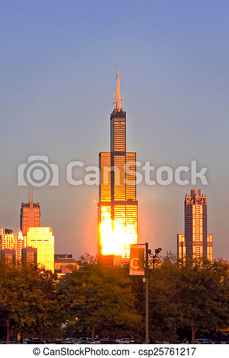 Willis Tower in Evening Light - csp25761217