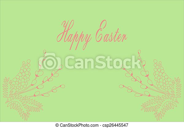 Willow branch. Easter card. - csp26445547