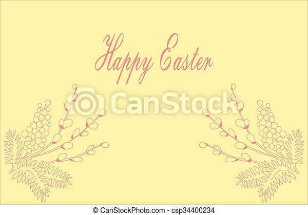 Willow branch. Easter card. - csp34400234