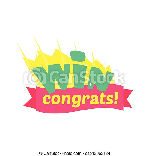 Win congratulations sticker design with green letters and vector win congratulations sticker design with green letters and red ribbon template for video game winning thecheapjerseys Images