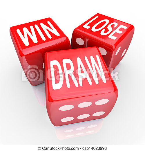 Win Lose Draw Words Three 3 Red Dice Competition Game Win Lose And