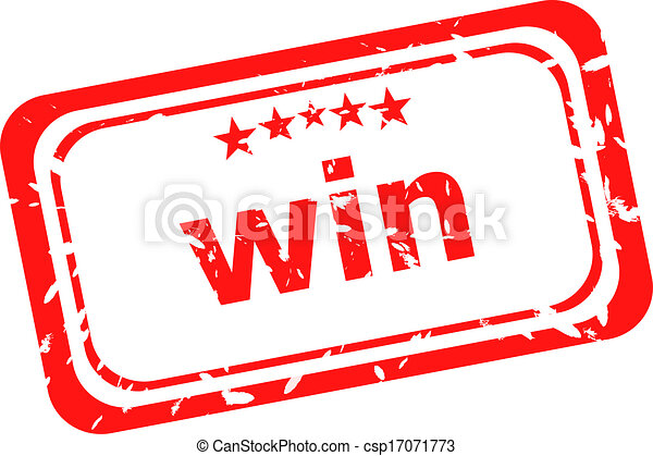 win on red rubber stamp over a white background - csp17071773