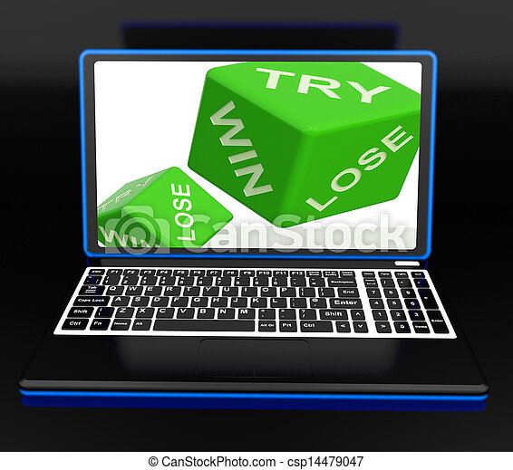 Win, Try, Lose Dices On Laptop Shows Gambling - csp14479047