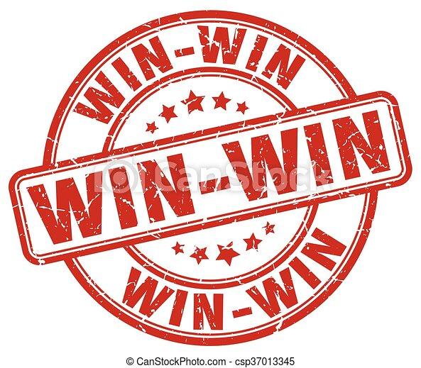 win-win, grunge, postzegel, ouderwetse , rubber, ronde, rood - csp37013345