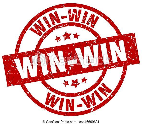 win win round red grunge stamp