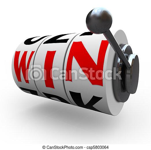 Win Word on Slot Machine Wheels - Gambling - csp5803064