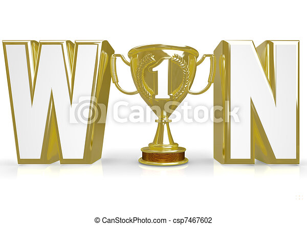 Win Word Trophy for Winner Champion of Competition - csp7467602