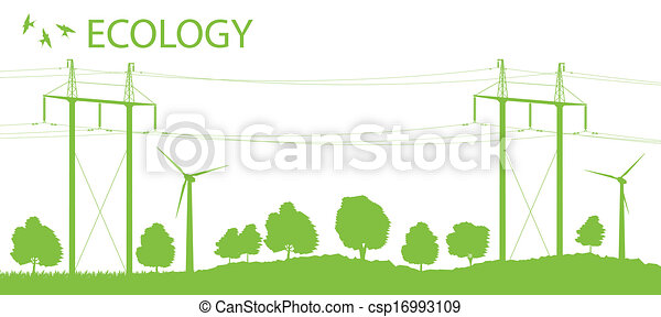 Wind alternative energy generator vector background with high voltage power line card - csp16993109