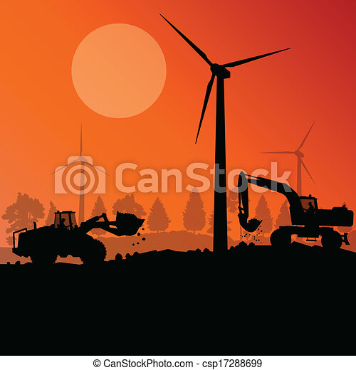 Wind electricity generators with excavator loaders in countryside field construction site landscape illustration background vector - csp17288699