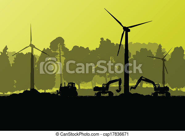 Wind electricity generators with electricity engineers in countryside field construction site landscape illustration background vector - csp17836671