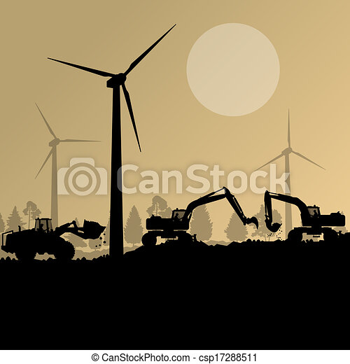 Wind electricity generators with excavator loaders in countryside field construction site landscape illustration background vector - csp17288511