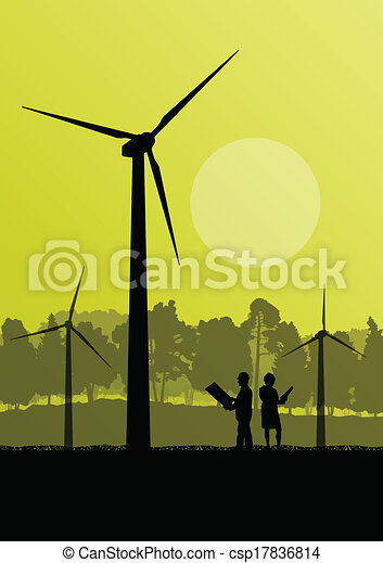 Wind electricity generators with electricity engineers in countryside field construction site landscape illustration background vector - csp17836814