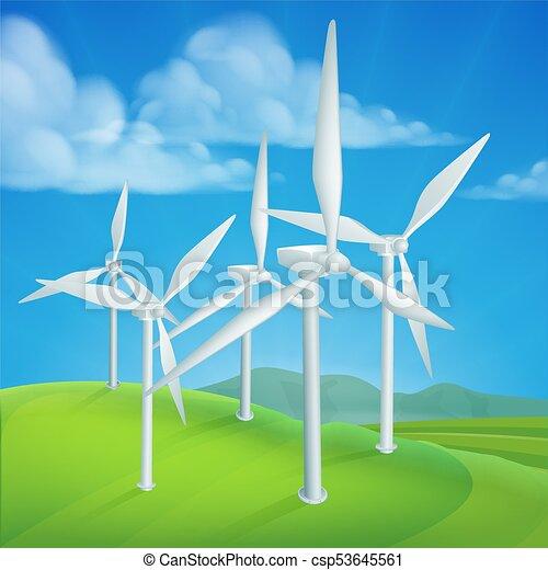 Wind Energy Power Turbines Generating Electricity - csp53645561