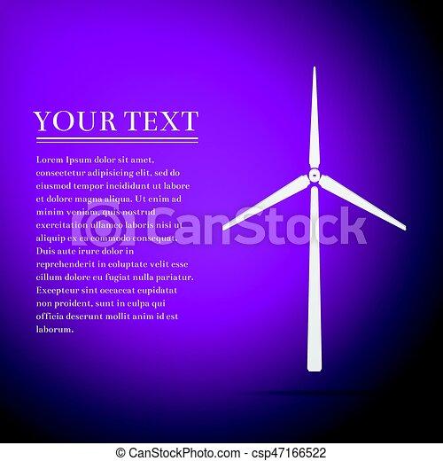 Wind generator flat icon on purple background. Vector Illustration - csp47166522