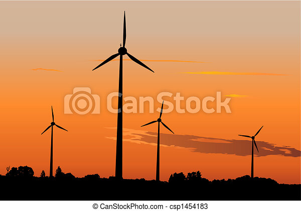 Wind generators at sunrise - csp1454183