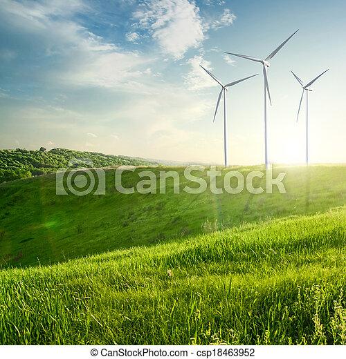 Wind generators turbines on sunset summer landscape - csp18463952