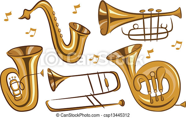 wind instruments illustration of wind musical instruments in white rh canstockphoto com cliparts instruments musique gratuits musical instruments clipart black and white