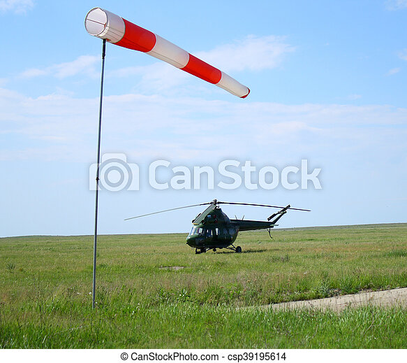 wind sleeve flying and helicopter - csp39195614