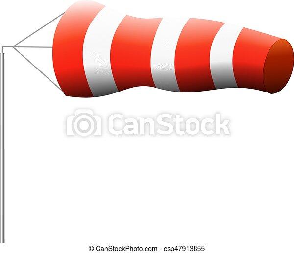 Wind sock, air wind direction. Air wind direction indicate ...