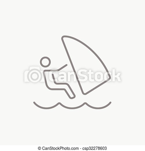 Wind Surfing Line Icon Wind Surfing Line Icon For Web Mobile And