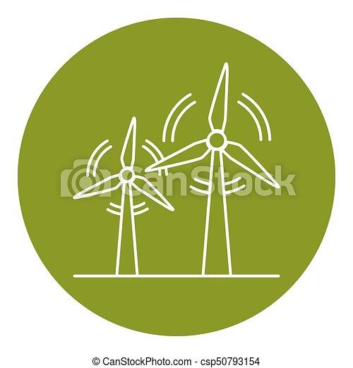 Wind turbine icon in thin line style - csp50793154