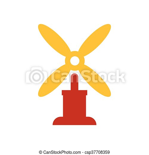 wind turbine icon vector yellow and red color - csp37708359