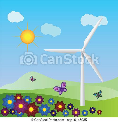 Wind turbine landscape - csp16148935