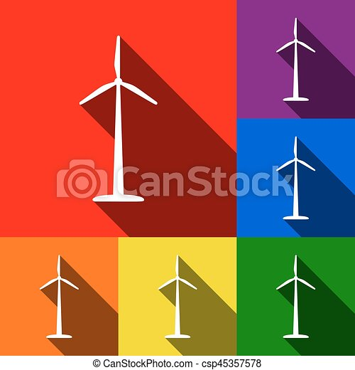 Wind turbine logo or sign. Vector. Set of icons with flat shadows at red, orange, yellow, green, blue and violet background. - csp45357578
