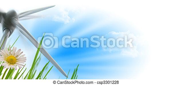 wind turbine, sun and flower - csp3301228