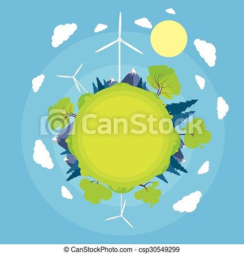 Wind Turbine Tower Blue Sky Sun Green Grass Energy Technology Flat Circle - csp30549299