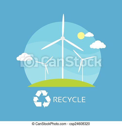 wind turbine tower over blue sky green grass energy recycle - csp24608320