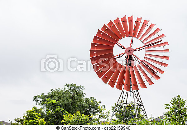 wind turbine with a clear blue sky - csp22159940