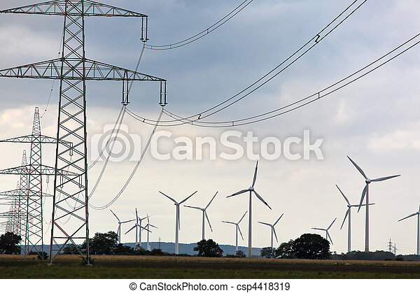 Wind turbine with power poles for alternative energy electricity - csp4418319