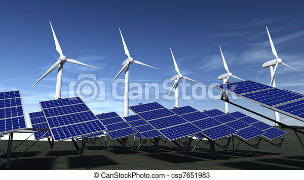 Wind turbines and solar panels with a blue sky - csp7651983