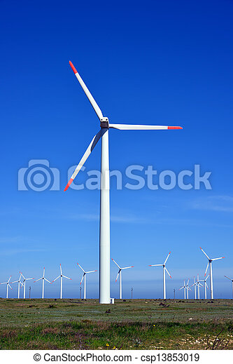 Wind turbines farm - alternative energy source - csp13853019