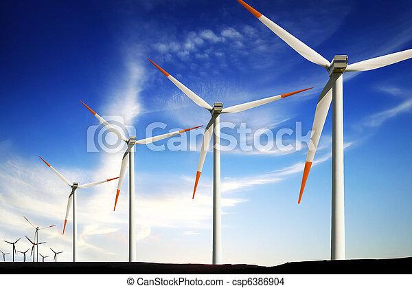 Wind turbines farm, alternative energy - csp6386904