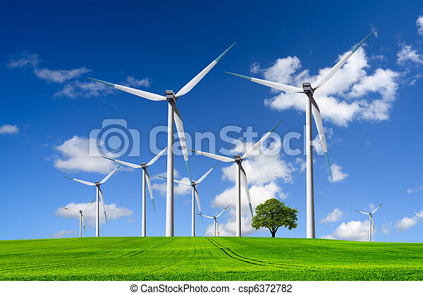 Wind turbines farm on green field - csp6372782