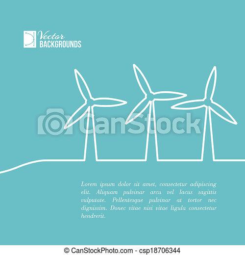 Wind turbines generating electricity. - csp18706344