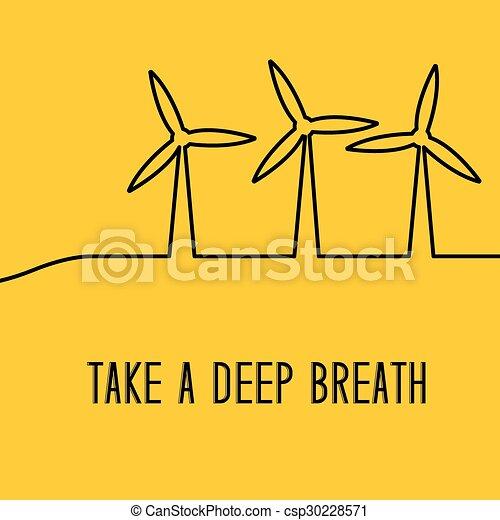 Wind turbines generating electricity. - csp30228571