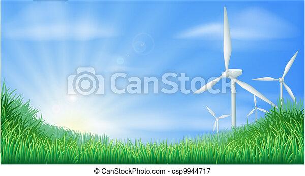 Wind turbines landscape illustratio - csp9944717