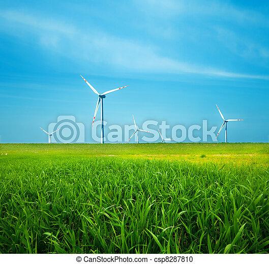 Wind turbines on green field - csp8287810