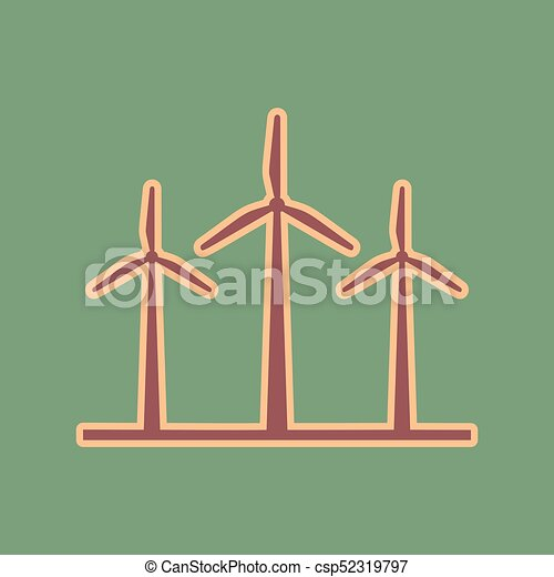 Wind Turbines Sign Vector Cordovan Icon And Mellow Apricot Halo