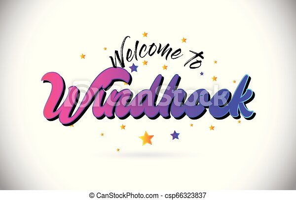 Windhoek Welcome To Word Text with Purple Pink Handwritten Font and Yellow Stars Shape Design Vector. - csp66323837